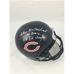 """Steve McMichael Signed Chicago Bears Full-Size Helmet Inscribed """"76 Bears""""  """"SB XX Champs"""" (JSA COA)"""