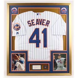 Tom Seaver Signed New York Mets 32x36 Custom Framed Index Card Display with Jersey (PSA)