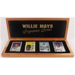 """Lot of (4) Willie Mays LE Porcelain Cards with (3) Signed  Display Case Inscribed """"660 HR"""" (Preferre"""