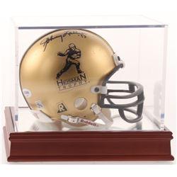 "Johnny Lattner Signed ""Heisman Trophy"" Logo Mini Helmet with Wood Base Display Case Inscribed "" '53"""