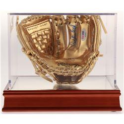 Carlton Fisk Signed Mini Gold Baseball Glove with Wood Base Display Case (PSA COA)