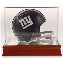 """Y. A. Tittle Signed New York Giants Mini Helmet with Wood Base Display Case Inscribed """"H.O.F. 1971"""""""