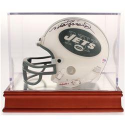 Don Maynard Signed New York Jets Mini Helmet with Wood Base Display Case (PSA COA)