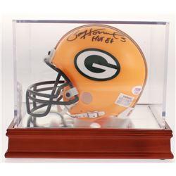 "Paul Hornung Signed Green Bay Packers Mini Helmet with Wood Base Display Case Inscribed ""HOF 86"" (PS"
