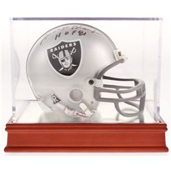 """George Blanda Signed Oakland Raiders Mini Helmet with Wood Base Display Case Inscribed """" HOF 81"""" (PS"""
