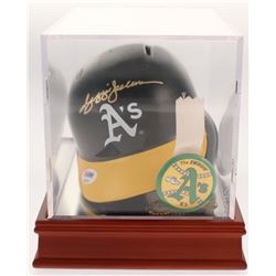 Reggie Jackson Signed Oakland Athletics Batting Mini Helmet With Display Case  Pin (PSA COA)