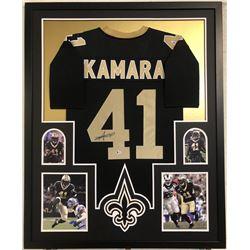 Alvin Kamara Signed 34x42 Custom Framed Jersey (Beckett COA)