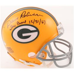 """Dave Robinson Signed Green Bay Packers Throwback Mini Helmet Inscribed """"Ice Bowl""""  """"12/31/67"""" (Schwa"""
