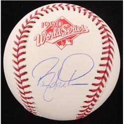 Barry Larkin Signed 1990 World Series Logo Baseball (Schwartz COA)