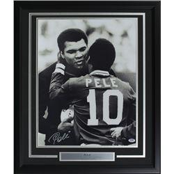Pele Signed Team Brazil 22x27 Custom Framed Photo Display (PSA COA)