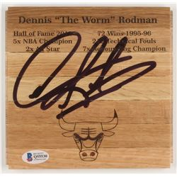 Dennis Rodman Signed Chicago Bulls 6x6 Custom Engraved Wood Floorboard Piece (Beckett COA)