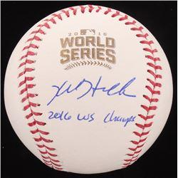 "Kyle Hendricks Signed 2016 World Series Logo Baseball Inscribed ""2016 WS Champs"" (MLB Hologram  Fana"