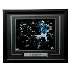 "Carson Wentz Signed Philadelphia Eagles 16x20 Custom Framed Photo Display Inscribed ""AO1""  ""SB LII C"