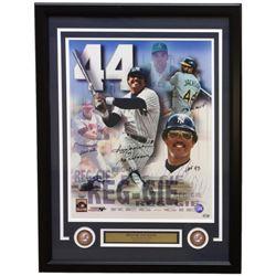 "Reggie Jackson Signed 22x29 Custom Framed Photo Display Inscribed ""500 HR,"" ""Mr. October,"" ""1973 AL"