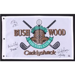 """Cindy Morgan, Michael Okeefe  Chevy Chase Signed """"Caddyshack"""" Golf Pin Flag Inscribed """"Lacey""""  """"Noon"""