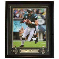 "Carson Wentz Signed Philadelphia Eagles 22x29 Custom Framed Photo Display Inscribed ""AO1""  ""SB LII C"