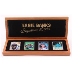 """Lot of (4) Ernie Banks LE Porcelain Cards with (3) Signed  Display Case Inscribed """"H.O.F. 77,"""" """"58 5"""