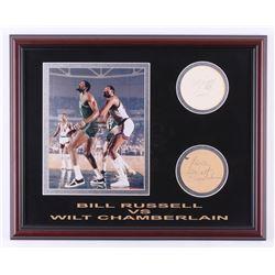 "Wilt Chamberlain  Bill Russell Signed 16x20.25 Custom Framed Coaster Display Inscribed ""Peace"" (JSA"