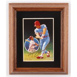 """Mike Schmidt Signed LE """"Only Perfect"""" 9.75x11.75 Custom Framed Porcelain Plate Display (Gartlan Auth"""