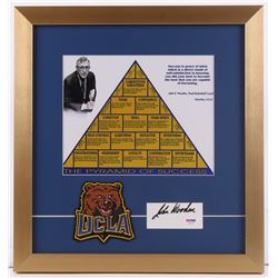 """John Wooden Signed """"The Pyramid of Success"""" 16x17 Custom Framed Cut Display with Patch (PSA COA)"""