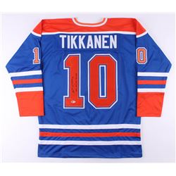 "Esa Tikkanen Signed Jersey Inscribed ""85, 87, 88, 90 Cup"" (Beckett COA)"