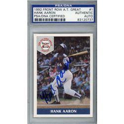 Hank Aaron Signed 1992 Front Row Aaron #1 (PSA Encapsulated)