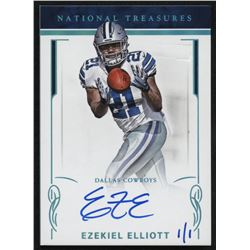 2018 Panini Honors Recollection Collection #3345 Ezekiel Elliott #1/1 2016 National Treasures Rookie