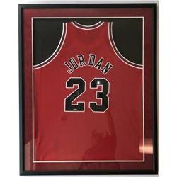 Michael Jordan Signed Chicago Bulls 32x36 Custom Framed Jersey (UDA COA)