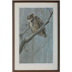 "Robert Bateman's ""Winter Mist- Great Horned Owl"" Print"