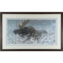 """Robert Bateman's """"Winter Run - Bull Moose"""" LE Print"""