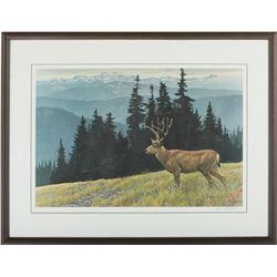 "Robert Bateman's ""Black-Tailed Deer in the Olympics"""
