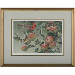 """Robert Bateman's """"Cardinal and Wild Apples"""" LE Print"""