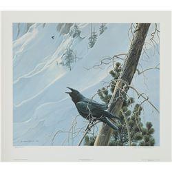 "Robert Bateman's ""Winter in the Mountains - Raven"" L.E."