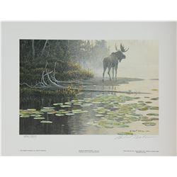 """Robert Bateman's """"Moose at Water's Edge"""" L.E. Print"""