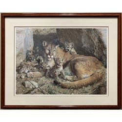 """Carl Brenders' """"Rocky Camp -Cougar Family"""" LE Print"""