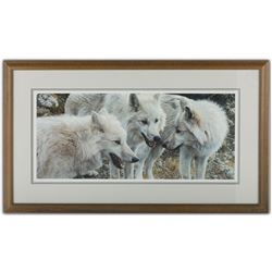 """Carl Brenders' """"Tundra Summit - Arctic Wolves"""" LE Print"""
