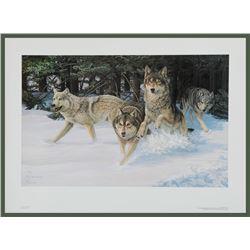 """Liz Lesperance's """"Ambush! Timer Wolves"""" L.E. Print"""