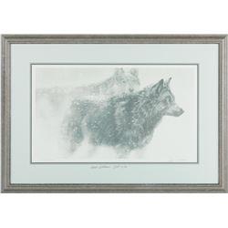 "Robert Bateman's ""Wolf Pair in Winter"" Original Litho"