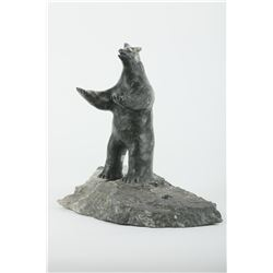 "David Anaittuq's ""Polar Bear Sitting on Base"" Sculpture"