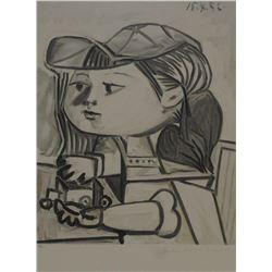 """Pablo Picasso's """"Buste de Petite Fille"""" Lithograph"""