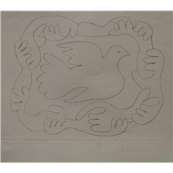 """Pablo Picasso's """"Etudes Des Mains et Colombe"""" Litho"""