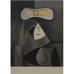 """Pablo Picasso's """"Femme Au Chapeau Gris"""" Lithograph"""