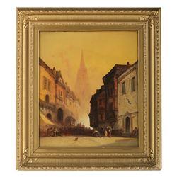 "Adolphe Bertolle's ""Market Place in Old Bruges"" Origina"