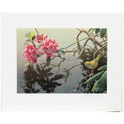 """Robert Bateman's """"Golden-Crowned Kinglet and Rhododendr"""