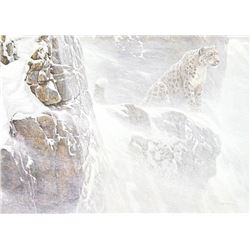 "Robert Bateman's ""High Kingdom - Snow Leopard"" Canvas"