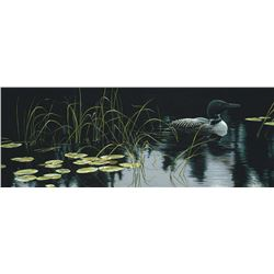 """Robert Bateman's """"Lily Pads and Loon"""" LE Canvas"""