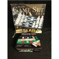 GLASS GAME SET 3 IN 1CHESS/ CHECKERS/ BACKGAMMON & TEXAS HOLD EM' POKER SET
