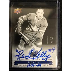 RED KELLY SIGNED UPPER DECK MEMORABLE MOMENTS HOCKEY CARD