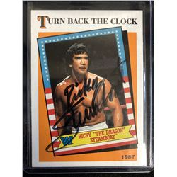 """RICKY """"THE DRAGON"""" STEAMBOAT SIGNED WWF WRESTLING CARD"""