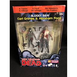 THE WALKING DEAD ACTION FIGURES (BLOODY B& W CARL GRIMES & ABRAHAM FORD)